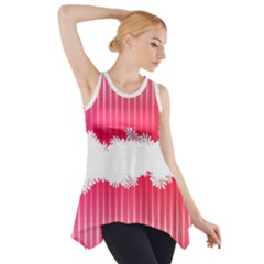 Digitally Designed Pink Stripe Background With Flowers And White Copyspace Side Drop Tank Tunic