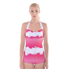 Digitally Designed Pink Stripe Background With Flowers And White Copyspace Boyleg Halter Swimsuit
