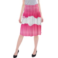 Digitally Designed Pink Stripe Background With Flowers And White Copyspace Midi Beach Skirt