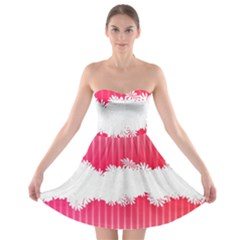 Digitally Designed Pink Stripe Background With Flowers And White Copyspace Strapless Bra Top Dress