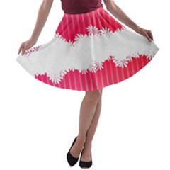 Digitally Designed Pink Stripe Background With Flowers And White Copyspace A-line Skater Skirt