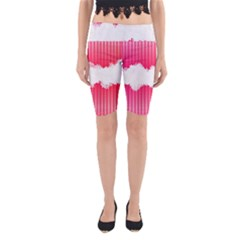 Digitally Designed Pink Stripe Background With Flowers And White Copyspace Yoga Cropped Leggings
