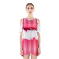 Digitally Designed Pink Stripe Background With Flowers And White Copyspace Shoulder Cutout One Piece