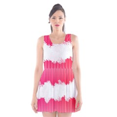 Digitally Designed Pink Stripe Background With Flowers And White Copyspace Scoop Neck Skater Dress