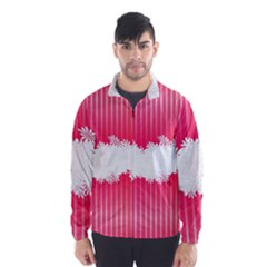 Digitally Designed Pink Stripe Background With Flowers And White Copyspace Wind Breaker (men)