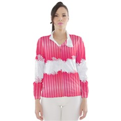 Digitally Designed Pink Stripe Background With Flowers And White Copyspace Wind Breaker (Women)