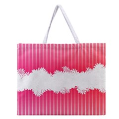 Digitally Designed Pink Stripe Background With Flowers And White Copyspace Zipper Large Tote Bag