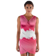 Digitally Designed Pink Stripe Background With Flowers And White Copyspace Wrap Front Bodycon Dress