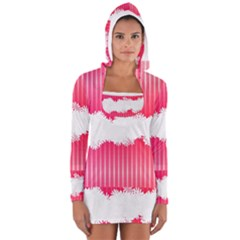 Digitally Designed Pink Stripe Background With Flowers And White Copyspace Women s Long Sleeve Hooded T-shirt