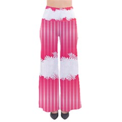 Digitally Designed Pink Stripe Background With Flowers And White Copyspace Pants