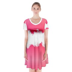 Digitally Designed Pink Stripe Background With Flowers And White Copyspace Short Sleeve V-neck Flare Dress