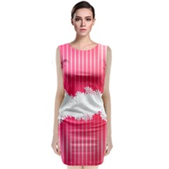 Digitally Designed Pink Stripe Background With Flowers And White Copyspace Classic Sleeveless Midi Dress