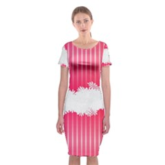Digitally Designed Pink Stripe Background With Flowers And White Copyspace Classic Short Sleeve Midi Dress