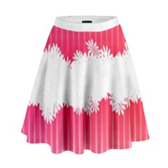 Digitally Designed Pink Stripe Background With Flowers And White Copyspace High Waist Skirt