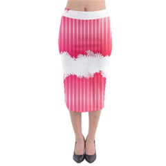 Digitally Designed Pink Stripe Background With Flowers And White Copyspace Midi Pencil Skirt