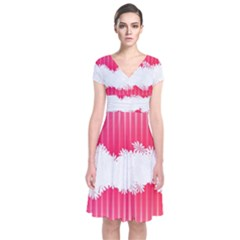 Digitally Designed Pink Stripe Background With Flowers And White Copyspace Short Sleeve Front Wrap Dress