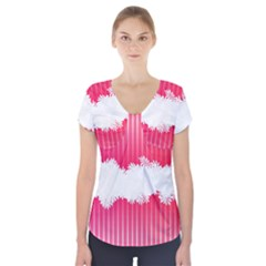 Digitally Designed Pink Stripe Background With Flowers And White Copyspace Short Sleeve Front Detail Top