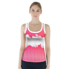 Digitally Designed Pink Stripe Background With Flowers And White Copyspace Racer Back Sports Top