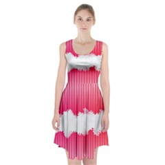 Digitally Designed Pink Stripe Background With Flowers And White Copyspace Racerback Midi Dress