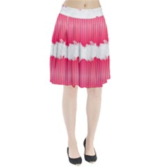 Digitally Designed Pink Stripe Background With Flowers And White Copyspace Pleated Skirt