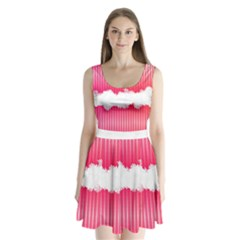 Digitally Designed Pink Stripe Background With Flowers And White Copyspace Split Back Mini Dress