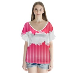 Digitally Designed Pink Stripe Background With Flowers And White Copyspace Flutter Sleeve Top