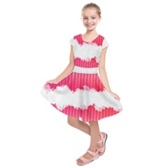 Digitally Designed Pink Stripe Background With Flowers And White Copyspace Kids  Short Sleeve Dress