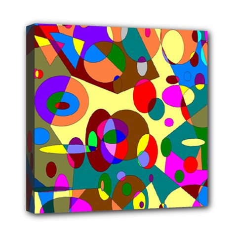 Abstract Digital Circle Computer Graphic Mini Canvas 8  x 8