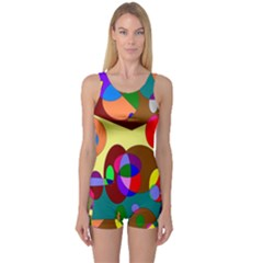 Abstract Digital Circle Computer Graphic One Piece Boyleg Swimsuit