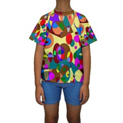 Abstract Digital Circle Computer Graphic Kids  Short Sleeve Swimwear