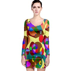 Abstract Digital Circle Computer Graphic Long Sleeve Bodycon Dress