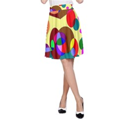 Abstract Digital Circle Computer Graphic A-Line Skirt