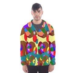 Abstract Digital Circle Computer Graphic Hooded Wind Breaker (Men)
