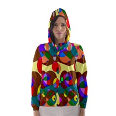 Abstract Digital Circle Computer Graphic Hooded Wind Breaker (Women)