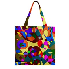 Abstract Digital Circle Computer Graphic Zipper Grocery Tote Bag