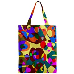 Abstract Digital Circle Computer Graphic Zipper Classic Tote Bag
