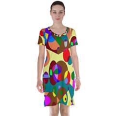 Abstract Digital Circle Computer Graphic Short Sleeve Nightdress