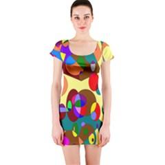 Abstract Digital Circle Computer Graphic Short Sleeve Bodycon Dress