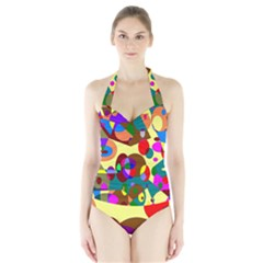 Abstract Digital Circle Computer Graphic Halter Swimsuit