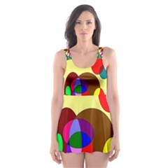 Abstract Digital Circle Computer Graphic Skater Dress Swimsuit