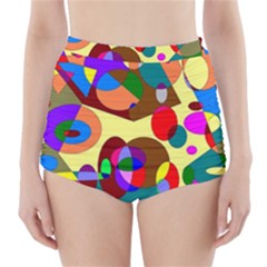 Abstract Digital Circle Computer Graphic High-Waisted Bikini Bottoms
