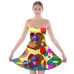 Abstract Digital Circle Computer Graphic Strapless Bra Top Dress