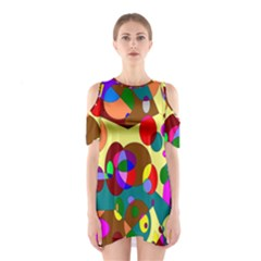 Abstract Digital Circle Computer Graphic Shoulder Cutout One Piece
