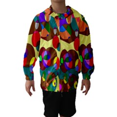 Abstract Digital Circle Computer Graphic Hooded Wind Breaker (kids)
