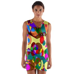 Abstract Digital Circle Computer Graphic Wrap Front Bodycon Dress