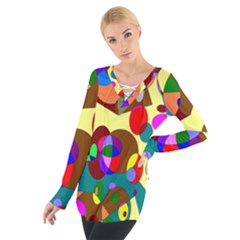 Abstract Digital Circle Computer Graphic Women s Tie Up Tee