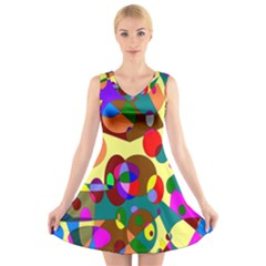 Abstract Digital Circle Computer Graphic V Neck Sleeveless Skater Dress