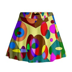 Abstract Digital Circle Computer Graphic Mini Flare Skirt
