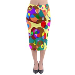 Abstract Digital Circle Computer Graphic Midi Pencil Skirt