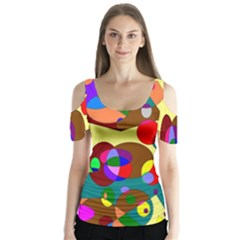Abstract Digital Circle Computer Graphic Butterfly Sleeve Cutout Tee